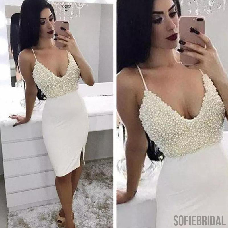 Ivory Spaghetti Rhinestone Homecoming Dresses, Mermaid Homecoming Dresses, Cheap Homecoming Dresses, SF0108