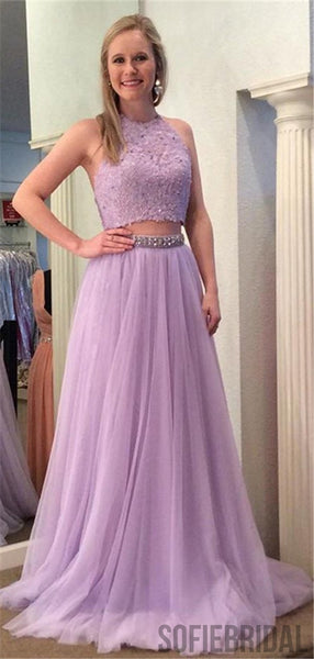 Two Piece Halter Backless Lavender Lace Tulle Prom Dress, PD0065