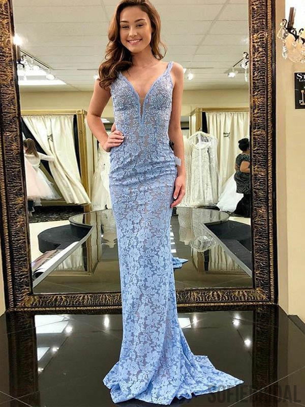 Light Blue lace Mermaid Beaded Cheap Prom Dresses, PD0803