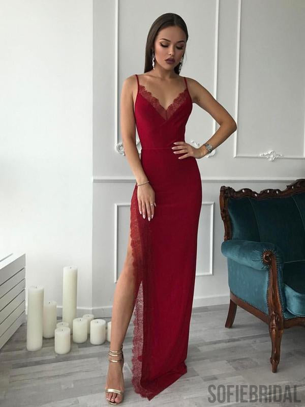 Red Spaghetti Long Side Slit Sheath Prom Dresses, Formal Evening Dresses, Prom Dresses, PD0734