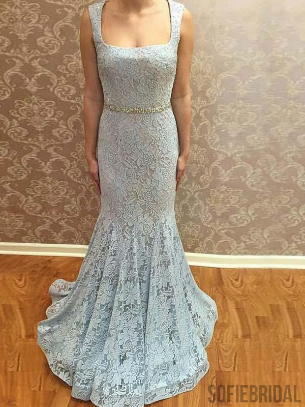Light Blue Lace Mermaid Long Prom Dresses, Cheap Newest Prom Dresses, PD0771