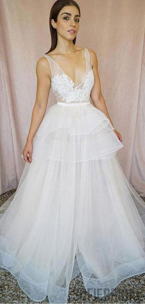V-neck Long A-line Ivory Lace Tulle Prom Dresses, PD0951
