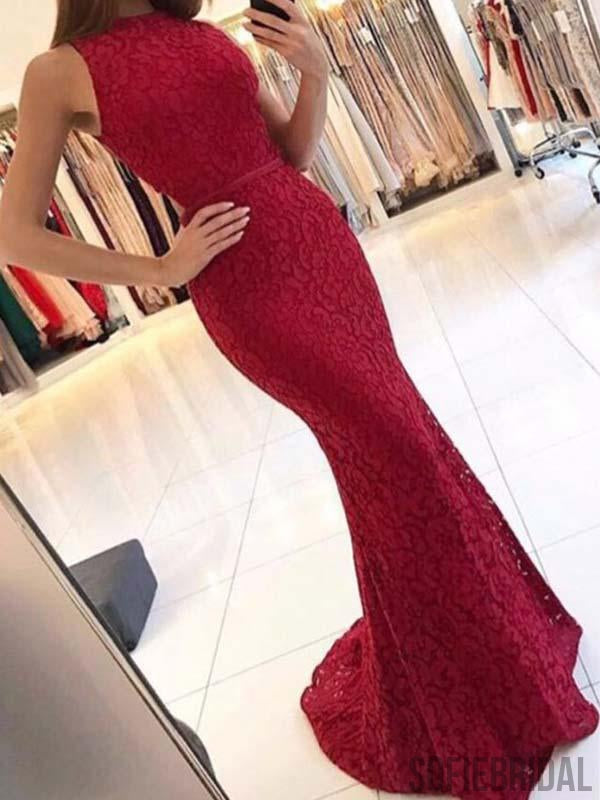 Sexy Red Lace Mermaid Prom Dresses, Newest Long Prom Dresses, PD0770