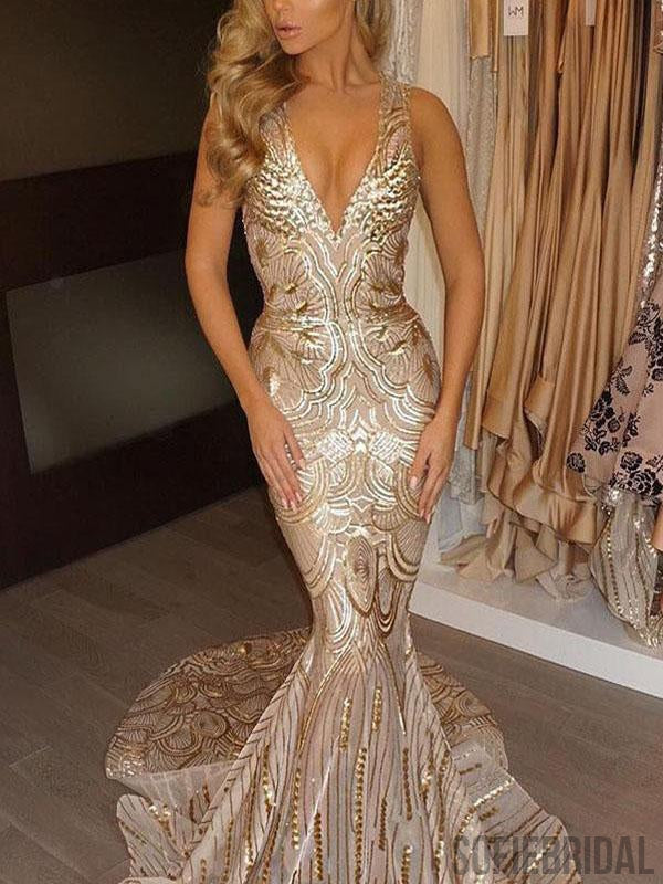 V-neck Gold Lace Sexy Mermaid Long Prom Dresses, PD0794