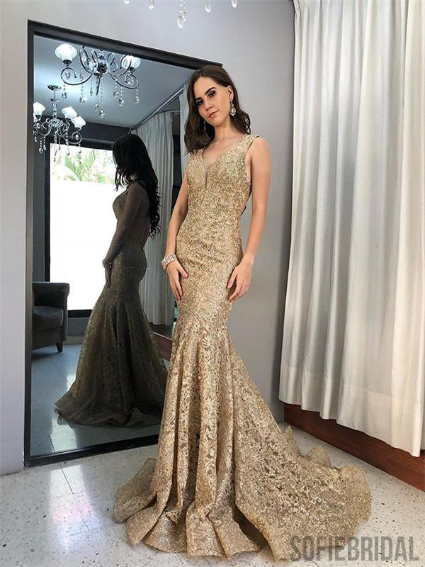Sleeveless Long Mermaid Gold Lace Prom Dresses, Popular Prom Dresses , PD0777