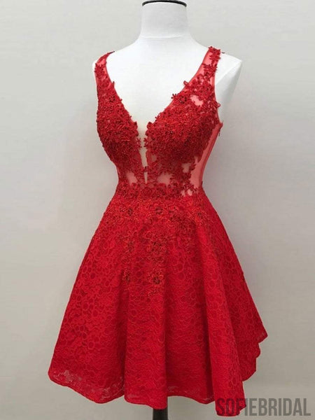 Red See Through Lace Custom Cheap Homecoming Dresses 2018, CM426
