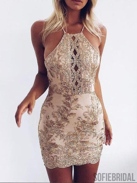 Halter Backless Gold Applique Sparkly Tight Homecoming Dresses 2018, CM436