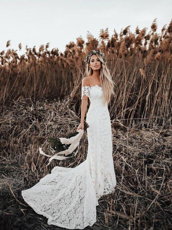 Off Shoulder Lace Mermaid Country Wedding Dresses Wd0278