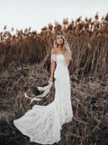 Off Shoulder Lace Mermaid Country Wedding Dresses, WD0278