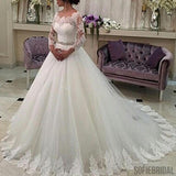 Scoop Neckline Long Sleeve See Through Long A-line Lace Tulle Wedding Party Dresses, WD0213