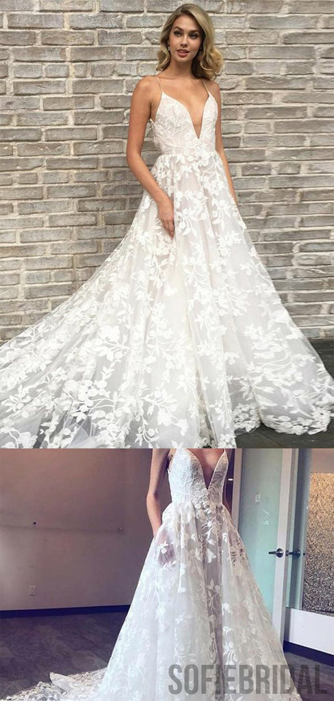 V-neck Long A-line Lace Wedding Dresses, Popular Wedding Dresses, WD0279