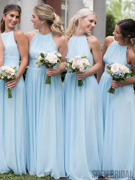 Light Blue A-line Cheap Chiffon Bridesmaid Dresses, PD0856