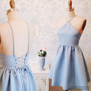 Light Blue Simple Homecoming Dresses, Short Prom Dresses, Cheap Homecoming Dresses, SF0098