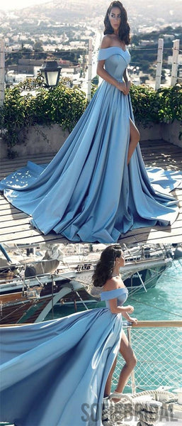 Blue Off Shoulder Prom Dresses, Side Slit Prom Dresses, Cheap A-line Prom Dresses, PD0687