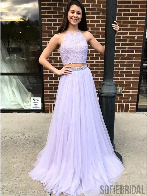 2 Pieces Lace Tulle Prom Dresses, Beaded Prom Dresses, Lilac Prom Dresses, Prom Dresses, PD0608