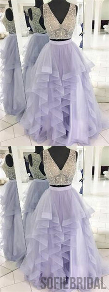 2 Pieces Prom Dresses, Beaded Prom Dresses, Lilac Prom Dresses, Long Prom Dresses, PD0681