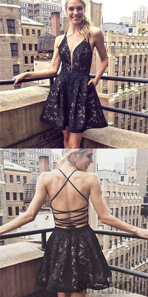 Black Lace Homecoming Dresses, Sexy Lace Up Homecoming Dresses, Cheap Homecoming Dresses, SF0117
