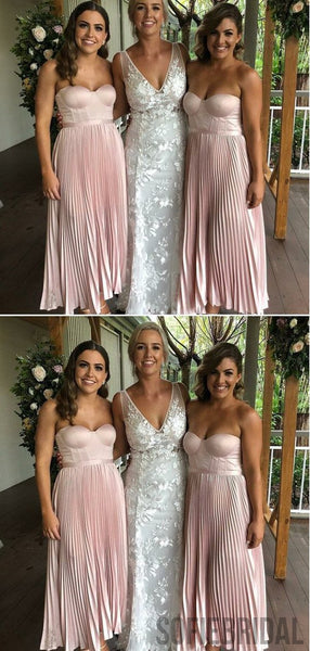 Sweetheart Blush Pink Long A-line Bridesmaid Dresses, PD0925