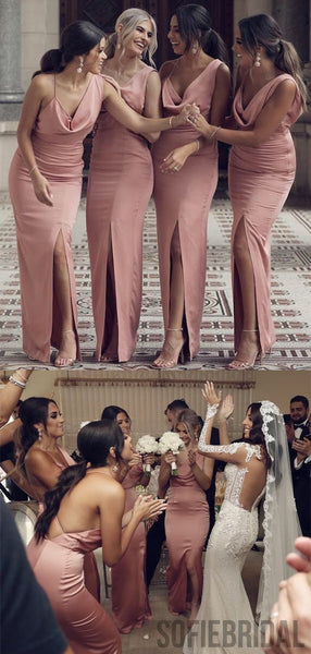 Sexy Mermaid Long Side Slit Dusty Pink Bridesmaid Dresses, PD0968