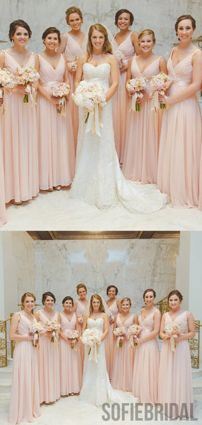 V-neck Blush Pink Long A-line Chiffon Bridesmaid Dresses, PD0927