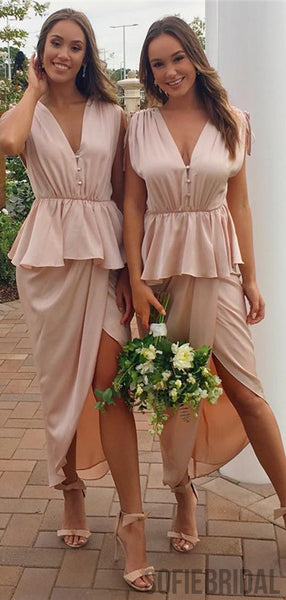 V-neck Nude Long Ankle Length Bridesmaid Dresses, PD0915
