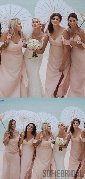 Blush Pink Long A-line Side Slit Beaching Wedding Bridesmaid Dresses, PD0899
