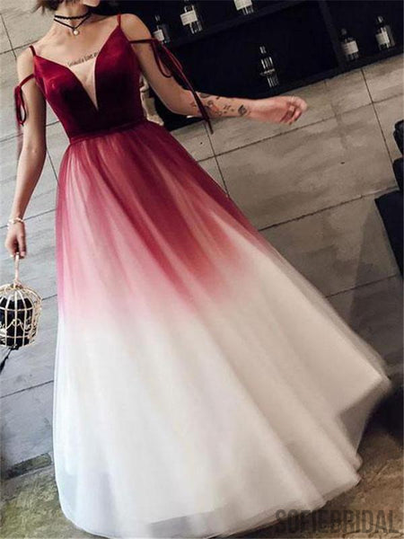 A-line Floor-length V-neck Long Tulle Lace Up Back Prom Dresses, PD0082
