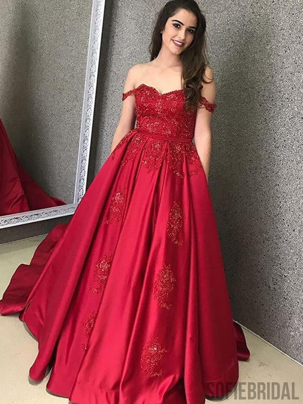 Off Shoulder Long A-line Satin Lace Prom Dresses, PD0882
