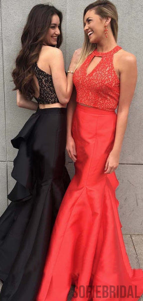 2 Pieces Lace Top Mermaid Satin Ruffles Prom Dresses, PD0893