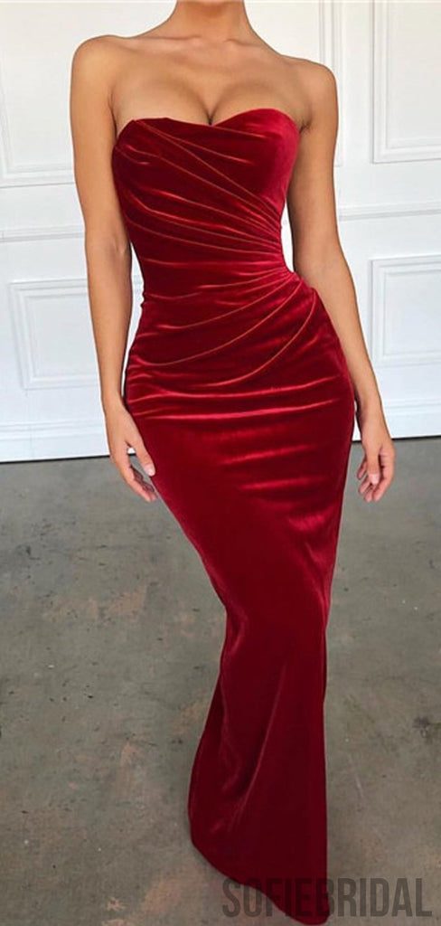 Strapless Red Velvet Long Mermaid Sexy Prom Dresses, PD0875