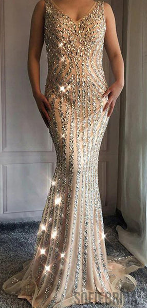 V-neck Long Mermaid Rhinestone Beaded Luxury Prom Dresses, PD0955