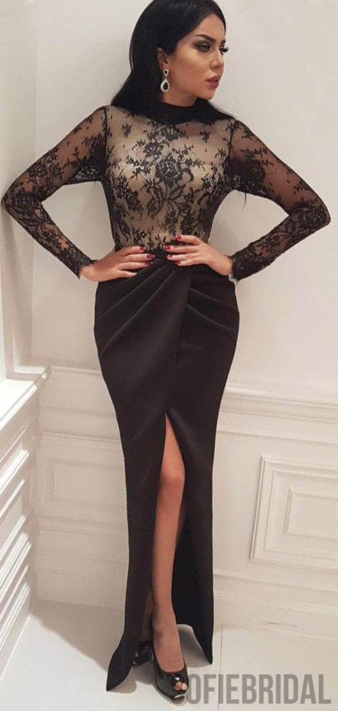 Sexy Front Slit Long Sleeves Black Lace Prom Dresses, PD0810