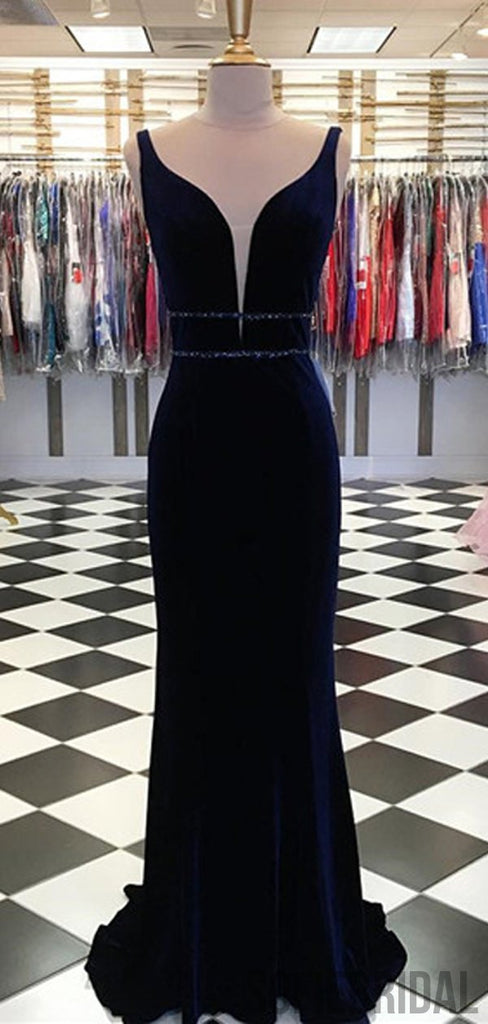 Long Mermaid Velvet Beaded Prom Dresses, PD0978