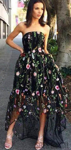 Strapless Hi-low Floral Long Prom Dresses, Formal Dresses, PD0811
