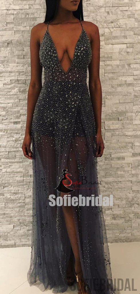 Dark Gray V-neck Rhinestone Beaded Side Slit See Through Prom Dresses, PD0862