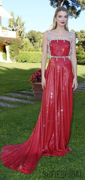 Gorgeous Red Sequin Beaded Sequin Long Prom Dresses, PD0940