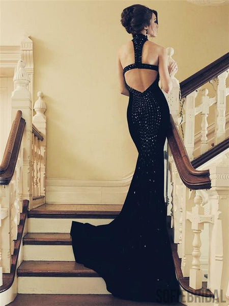 Halter Black Prom Dresses, Rhinestone Mermaid Prom Dresses, Cheap Prom Dresses, PD0654
