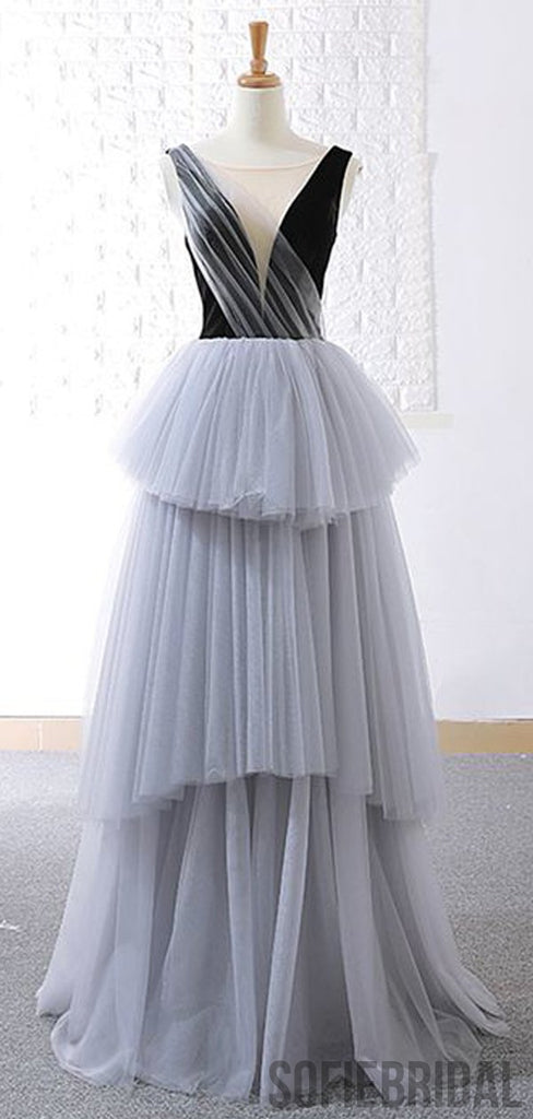 V-neck Black Top Grey Tulle Prom Long Dresses, PD0822