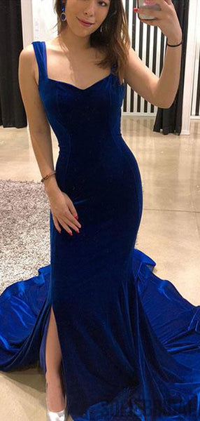 Royal Blue Velvet Long Prom Dresses, Side Slit Prom Dresses, Cheap Prom Dresses, PD0749
