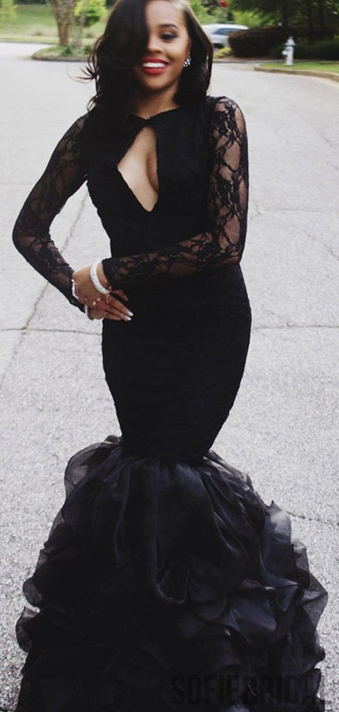 Long Sleeves Sexy Black Mermaid Lace Prom Dresses, PD0843