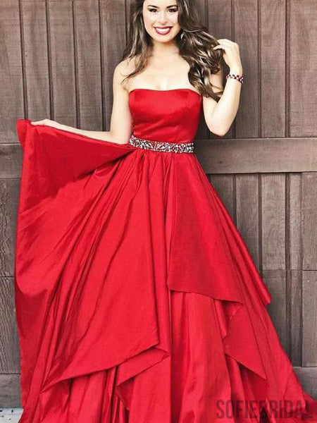 Strapless Red Satin Prom Dresses, Beaded Prom Dresses, Long Prom Dresses, PD0720
