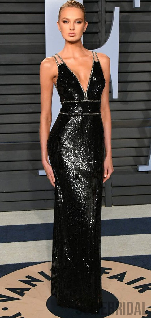 Romee Strijd Inspired Black Sequin Beaded Long Sheath Prom Dresses, PD0931