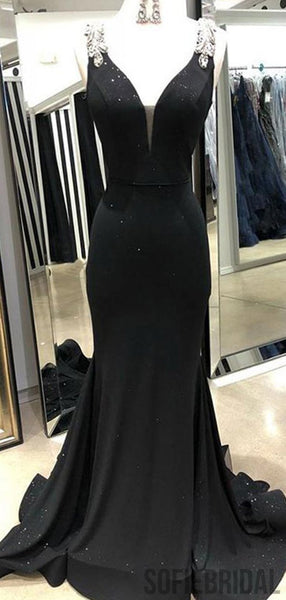 Black Mermaid Rhinestone Beaded Long Prom Evening Dresses, PD0953