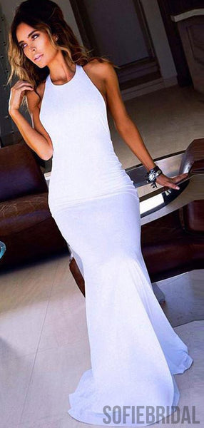 Halter Long Mermaid White Jersey Prom Dresses, PD0825