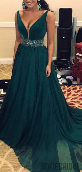 V-neck Long A-line Beaded Emerald Green Chiffon Prom dresses, PD0985