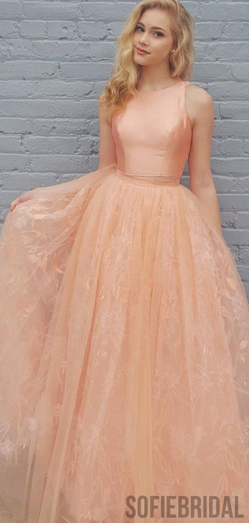 2 Pieces Peach Satin Top Lace Prom Dresses, PD0944