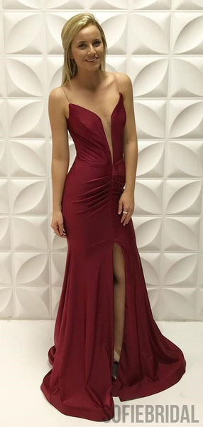 Spaghetti Long Mermaid Front Slit Prom Dresses, Cheap Prom Dresses , PD0780