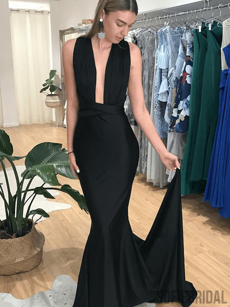 Simple Convertible Black Mermaid Prom Dresses, Long Popular Prom Dresses, PD0745