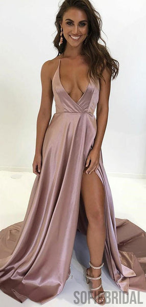 Deep V-neck Prom Dresses, Turquoise Prom Dresses, Long Side Slit Prom Dresses, PD0713