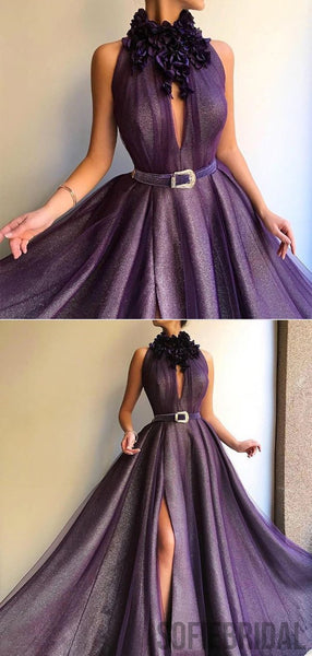 Mermaid Long A-line Shiny Purple Prom Dresses, Formal Dresses, PD0820